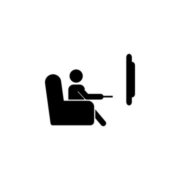 The man is watching TV. A man sits on the sofa and watches a television program icon. Media element icon. Premium quality graphic design. Signs, outline symbols collection icon for websites