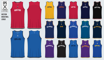 Basketball uniform template design. Tank top t-shirt mockup for basketball club in USA Western basketball division. Front view and back view sport jersey. Vector Illustration.