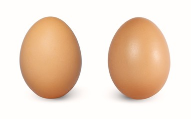 Two brown chicken egg vertical isolated on white background.