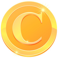 Coin with C letter vector image