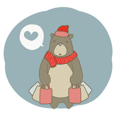 Drawing graphic of shopping brown bear.