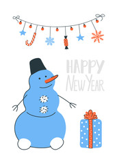 Snowman with a gift box and a garland. Happy New Year card in vector