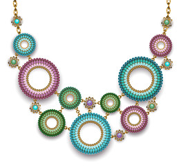 Necklace with beaded rings