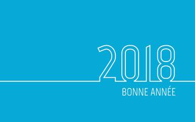 Carte de vœux 2018 - Bonne Année bleu turquoise