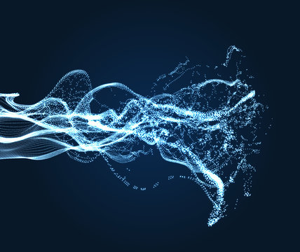 Array with Dynamic Emitted Particles. Water Splash Imitation. Abstract Background. Vector Illustration.