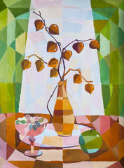 "Children's gouache painting ""Decorative still-life with physalis, grapes and apple"""