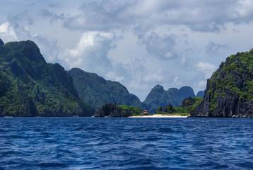 Beautiful landscape of limestone cliffs around El Nido, Palawan Island, Philippines.