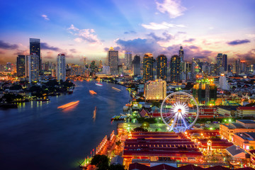 Türaufkleber Bangkok Bangkok cityscape. Bangkok sunrise in the business district. at twilight