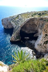 View looking down at Blue Grotto Cove, Blue Grotto, Malta.