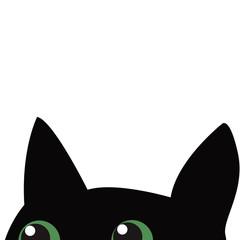 Black cat hiding