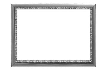 gray vintage picture frame isolated on white background.