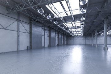 empty factory with lamps