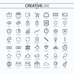 Business and Finance Universal Thin Icons Set for Your Web design, Mobile design, Infographics, and other