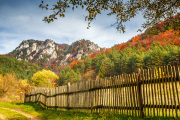 Autumn landscape with rocks in Sulov, Slovakia, Europe.