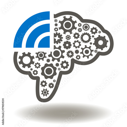 Brain Gears WIFI Wireless Icon Vector. Smart Connection Technology ...