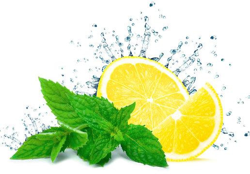 lemon splash water and mint isolated on white background