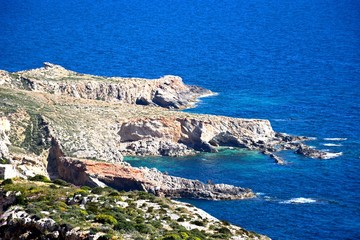 View of the coastline during the Springtime at Dingli cliffs, Malta.