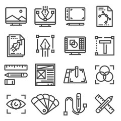 Vector linear graphic design icons set