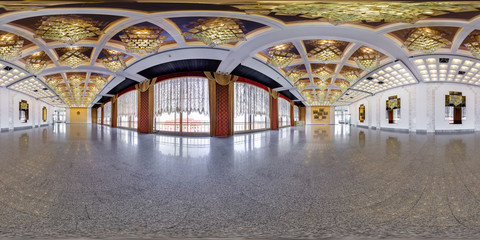 Panorama in interior of a huge empty banquet hall.  Full 360 by 180 degree seamless spherical panorama in equirectangular equidistant projection