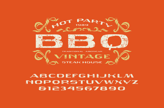 Sans serif extended font and barbecue label