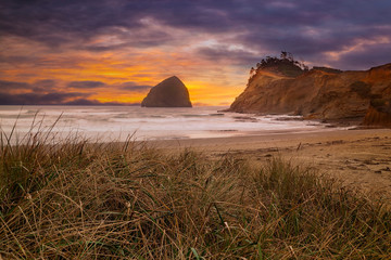 Cape Kiwanda in Pacific City Beach at Sunset along Oregon coast USA America