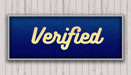 VERIFIED handwritten on blue leather pattern painting hanging on wooden wall.