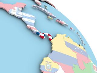 Flag of Panama on globe