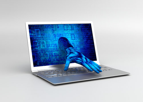 Hand is coming out of computer