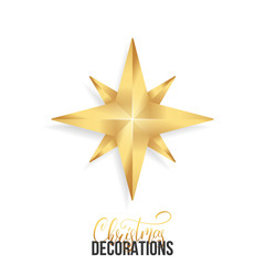 Christmas star. Shiny gold realistic star. Christmas decoration of gold metallic color