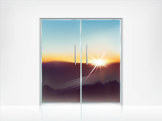 Vector realistic background with double closed glass doors with metal handles and sunrise, sunset behind them. Template for advertising poster