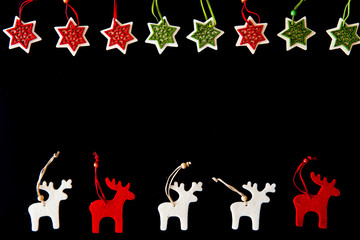 Red and white felt rein deers and snowflakes