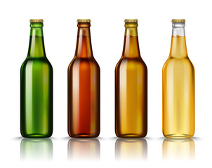 Realistic Green, brown, yellow and white glass beer bottles with drink isolated on a white background. Vector illustration. Mock up template blank for product packing advertisement.