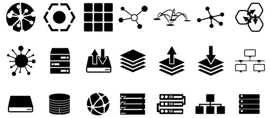 Wall Mural - Black server and connection vector icons pack