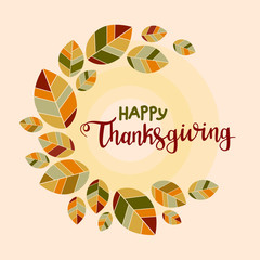 Happy thanksgiving background. Poster with colorful flat leaves