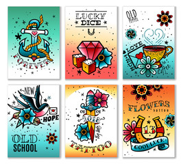 old school tattoo cards set