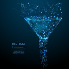 Abstract image of a funnel in the form of a starry sky or space, consisting of points, lines, and shapes in the form of planets, stars and the universe. Vector big data or sales funnel concept.