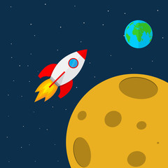Rocket in space. Vector illustration