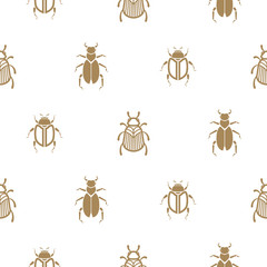 Beetle gold and white vector seamless pattern for print. Simple insect background.