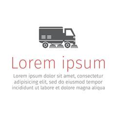 Street sweeper truck flat icon