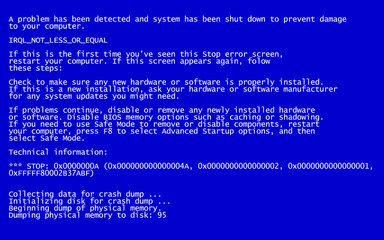 Interrupt request level classic blue screen of death (BSOD) error. Driver and memory error, incompatible device, software and hardware problem. System Crash Report Background. Vector Illustration