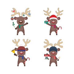 Set of reindeer with different Christmas elements