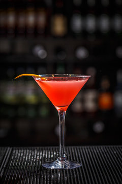 Glass of cosmopolitan cocktail