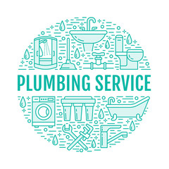 Plumbing service blue banner illustration. Vector line icon of house bathroom equipment, faucet, toilet, pipeline, washing machine, bathtub, wrench. Plumber repair circle template.