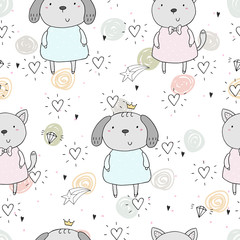 Seamless pattern with cute little dog and cat. vector illustration