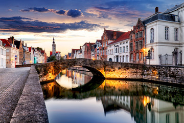 Fotorolgordijn Brugge Bruges cityscape, Belgium