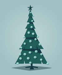 Merry Christmas. Tree with decorations. Cartoon vector illustration