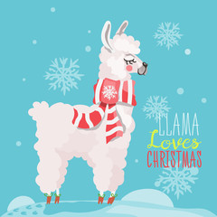 Merry Christmas funny card. Cute, hand drawn llama in cartoon flat style. Beautiful and funny white llama with Christmas traditional red scarf on snowy blue background with falling snowflakes