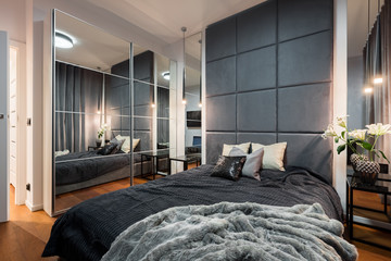 Sophisticated bedroom with double bed