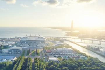 Round Football Stadium in the sunshine, top view