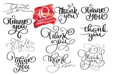 Set of ten hand written calligraphy lettering texts Thank you. handmade vector illustration